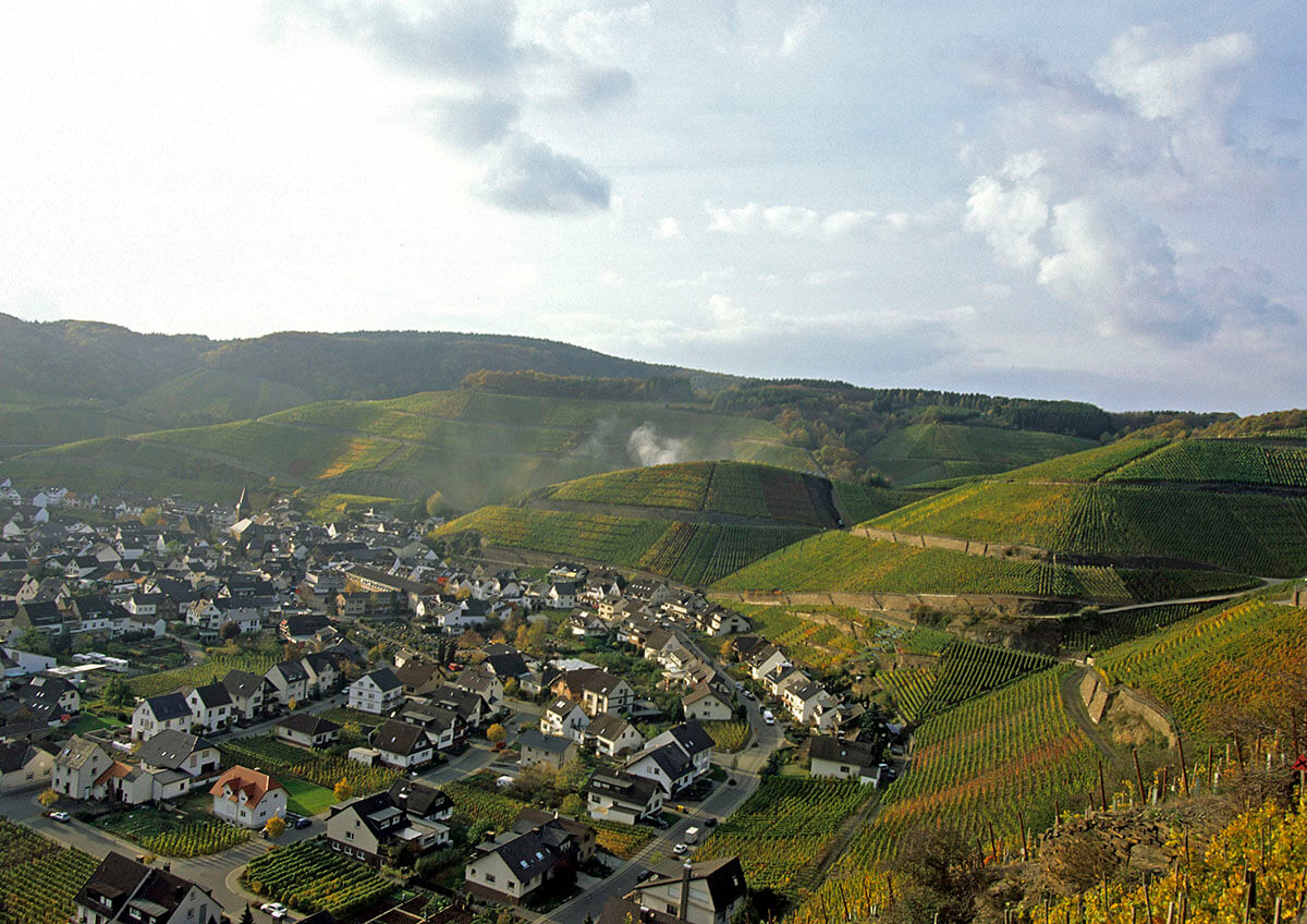 View from afar of Germany's Wine Growing Region Baden