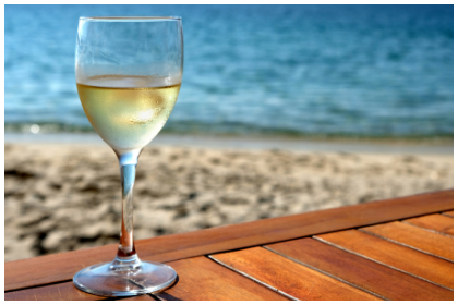 A glass of Riesling by the Beach